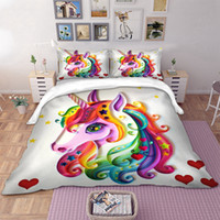 Wholesale twin comforter bedding set resale online - Unicorn printed Bedding Set for comforter Colourful Cartoon Duvet Cover set Twin Full Queen King Sizes quilt cover