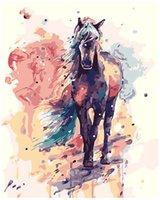peinture des huiles de chevaux achat en gros de-Kits Peinture Peinture à l'huile Peinture de bricolage par numéro Cheval peint à la main pour adulte 16