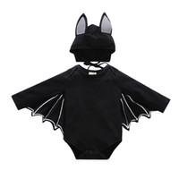 ingrosso bambino di batman-Toddler boy jumpsuit Christmas Halloween cosplay Batman costume Triangle pagliaccetto con cappello 2pcs bambino regalo di compleanno abbigliamento per bambini