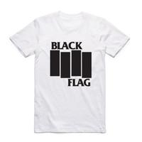 bant tişörtler toptan satış-Moda Erkekler Kısa Kollu O-Boyun Ile Yaz Siyah Bayrak T-shirt Yaz Band Casual En Tee Tshirt