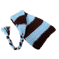 Wholesale long tail baby crochet hat resale online - Cute Stocking Hat Handmade Knit Crochet Baby Boy Girl Blue Stripe Beanie Cap Baby Long Tail Elf Hat Infant Newborn Photo Prop