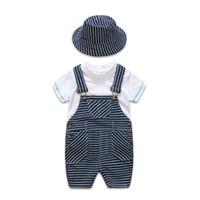 meninos suspender camiseta venda por atacado-2019 Verão recém-nascido menino roupas de bebê Roupa Infantil roupas de grife crianças 3 pçs / set branco T-shirt + suspender calças + chapéu meninos conjuntos A2617