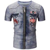 impresión digital jeans al por mayor-3D Digital Jean Print Camisetas para hombre Verano O Cuello de manga corta Camisetas creativas USA Jeans Camisetas