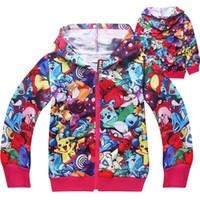 jungen patchwork hoodie groihandel-Hot Anime 3D Gedruckt Kinder Reißverschluss Hoodies 2 farben 4-12 t Jungen Mädchen Hoodies Kinder Mädchen Jungen Outdoor Mantel Kinder Designer Kleidung SS255