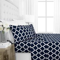 juegos de cama edredón azul al por mayor-Impresión de cuatro piezas Juego de ropa de cama Juegos Azul marino Geometría Urban Strip Lattice Juegos de edredones de cama Venta caliente 66 71wo4 E1