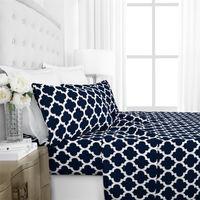 Wholesale bedding sets pieces for sale - Printing Four Piece Suit Bedding Sets Navy Blue Geometry Urban Strip Lattice Bed Comforters Sets Hot Sale wo4 E1
