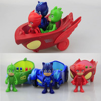 Wholesale big size toys resale online - 3pcs Big Size PJ mask cm Car With cm Characters Can Come Out And Figures Legs And Arms Can Move Action Figures ChildrenS Toys