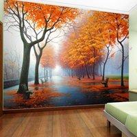 ingrosso case d'acero-Carta da parati della foto su misura 3D Autumn Maple Leaf naturale scena carta da parati rotolo soggiorno camera da letto home decor murale carta da parati