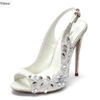 belles chaussures de mariage pour les femmes achat en gros de-Yifsion Femmes Sandales En Dentelle Mince Talons Hauts 12 cm Sandales Sexy Strass Belle Peep Toe Blanc Chaussures De Mariage Dames NOUS Taille 4-10.5