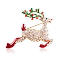 yeni yıl broşları toptan satış-Noel Broşlar Yeni Yıl için Hediyeler Güzel Kış Kadınlar için Broş Pins Takı Rhinestones Broşlar
