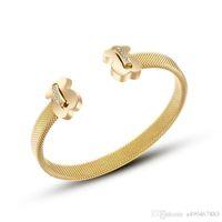 pulsera chapada en oro masculino al por mayor-Famob Rand 316L de acero de titanio, chapado en oro rosa brazalete brazalete hembra bijoux masculino abierto amor pulsera regalo para hombres pareja