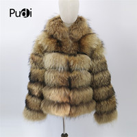 Wholesale knit dog collar online - Pudi CT909 women new fashion Real Raccoon Fur Jacket V neck lady Dog with hood or standing collar Natural Fur Coats