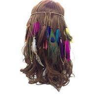 ingrosso copricapo della piuma di modo-Indiano Piuma Fascia Nappa Corda di Canapa Boemia Piume di Pavone Hairband per le Donne Ragazze Festival Copricapo Moda Regalo Fresco