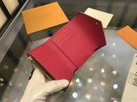 Wholesale small card boxes resale online - 2018 Women Real Leather Coin Purse Real Leather Short Wallet Card Holder Original Classic Zipper Pocket With Box dust Bags M41988