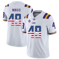 eua futebol venda por atacado-Flag Mens Personalizado Futebol Jersey LSU Tigers EUA moda de alta qualidade costurado College Football Jerseys
