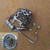 Open Mourth Snap Ring Stainless Steel Male Chastity Cock Cage Device Toys 38mm,41mm,51mm,57mm Cock Cage with Spiked Screw Sex Toys