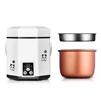 olla eléctrica al por mayor-Recipiente eléctrico de calefacción Mini cocina de arroz 1.2L mini cocina de arroz pequeña 2 capas Vaporera multifunción olla de cocina