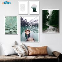 Wholesale boat landscape painting resale online - Scandinavian Nature Canvas Poster Boat Lake Nordic Style Landscape Wall Art Print Painting Decorative Picture Living Room Decor