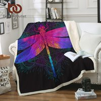 Wholesale pink velvet bedding resale online - BeddingOutlet Dragonfly Mandala Sherpa Blanket Colorful Bedspread Boho Purple Pink Insect Velvet Plush Beds Blanket x200cm