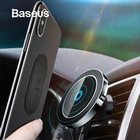 telefon auto magnethalter großhandel-Baseus magnetischer drahtloser Autoladegerät-Halter für Iphone X 8 8plus magnetischer Autoladegerät-Halter für Samsung S9 S8 S7 J190427