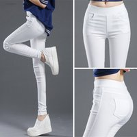 perneiras brancas venda por atacado-Sexy 2019 calças lápis sólidos das mulheres Corpo Inteiro Leggings cintura alta estiramento Calças Casual Wear Black White P8823