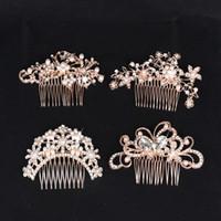 peine de horquilla de mariposa al por mayor-Lujo rosa de oro horquillas de pelo joyería nupcial perla peines del pelo flor cristalina horquilla para las mujeres