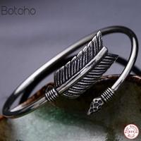 pulseira de 925 libras para homens venda por atacado-925 Sterling Silver Feather Forma Open Cuff Bangle Bracelet para Homens ou Mulheres Puck Clássico Retro Estilo Jóias Difusa Pulseira