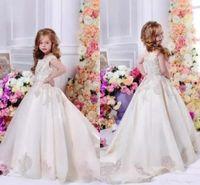 küçük kızlar için pantolon giymek toptan satış-2020 Sıcak Satış Çiçek Kız Elbise Güzel Aplikler Prenses Küçük Çocuklar Pageant Elbise Resmi Uzun Tren BA6525 Giymek