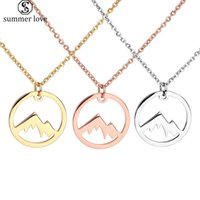 Wholesale gold mountains resale online - New Arrival Stainless Steel Round Plant Tree Pendant for Women Rose Gold Silver Gold Mountain Are Calling for Her Jewelry Gift