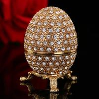 oeufs de pâques d'or achat en gros de-vente chaude métal pierre or oeuf de pâques et fabergé oeuf artisanat ornements