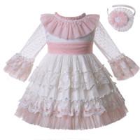 yeni bahar gelinlik toptan satış-Pettigirl Yeni Varış İlkbahar Yaz Beyaz Communion Prenses Elbise Düğün Çiçek Parti Töreni Katmanlar Çocuklar Kızlar Elbiseler G-DMGD112-C128