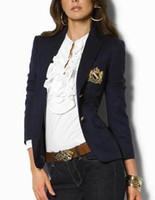 ingrosso blazer da donna in cotone-Offri le donne americane di disegno delle giacche di polo casuali il cotone di inverno del monopattino delle signore della giacca sportiva del blazer del rivestimento classico delle ragazze S-XL