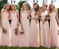 vestido de maternidad rosa gris al por mayor-Verano 2019 Barato Blush gasa vestidos largos de dama de honor Vestido de dama de honor de Boho para fiesta de baile en la playa volantes Vestidos de invitados de boda por encargo