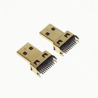 fio de ouro hdmi venda por atacado-HDMI macho 50pcs / lot banhado a ouro Micro HDMI Male plug D Tipo Splint Weld fio sem placa PCB
