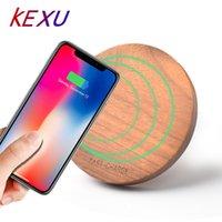 qi зарядное устройство оптовых-KEXU 10 Вт 7.5 Вт Ци Беспроводное зарядное устройство Wood fast Беспроводное зарядное устройство мини Зарядка Pad для iPhone X 8 для Samsung Galaxy Note8 S8 S7Edge
