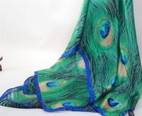 peacock xales seda venda por atacado-Novo lenço de seda imitação de seda pavão pena cachecol proteção do sol xale dupla-uso toalha de praia proteção solar toalha decorativa sombreamento