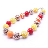 Wholesale chunky necklaces girls bubblegum resale online - Thanksgiving Design Kid Chunky Necklace Coffee Color Design Bubblegum Bead Chunky Necklace Children Jewelry For Toddler Girls