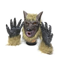 Wholesale creepy theater masks resale online - Creepy Full Face Wolf Latex Mask and Wolf Claws Theater Prank Prop Crazy Masks Halloween Costume