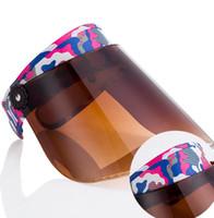 güneş koruma maskeleri toptan satış-Yaz Kadın Güneşlik Kap Açık sürücü Şapka GÜNEŞ VISOR Tam YÜZ BAŞ KALKANı MASKESI UV Koruma Şapka LJJK1202
