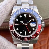 Wholesale red zone for sale - Group buy Men watch mm red and blue Pepsi GMT dual time zone automatic sports sapphire diving waterproof watch