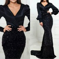 Wholesale sequin beaded sparkle evening dress for sale - Group buy 2019 Prom Dress Sparkle Mermaid Evening Gowns Long Sleeves V Neck Beaded Party Gowns Arabic Custom Vestidos