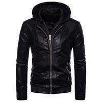 black leather blazer jacket toptan satış-Erkekler için rahat Deri Blazer Ceket Siyah Slim Fit Deri Ceketler Mont Artı Boyutu Blazer Deri Ceket Kaban