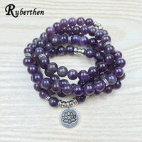 Wholesale buddhist rosary bracelet for sale - Group buy Ruberthen Luxurious Design Purple Natural Stone Mala Lotus Bracelet Or Necklace Reiki Charged Buddhist Rosary Bracelet Y19051302