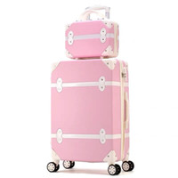 çanta jantlar kızı toptan satış-Kadınlar sert retro pembe haddeleme bagaj seti arabası bagaj tekerlekler üzerinde kozmetik çantası ile sevimli arabası bavulla ...
