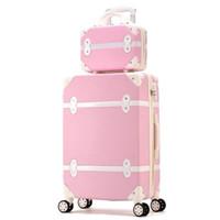 bagages de voyage difficiles achat en gros de-Les femmes dures rétro roulant le bagage de roulement rose de bagage de chariot avec le sac cosmétique sur des roues le sac mignon de voyage de valise de chariot pour des filles