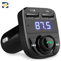 kit de carga sem fios para iphone venda por atacado-Transmissor FM Modulador Aux Kit Mãos Livres Bluetooth Sem Fio Universal Car Audio MP3 Player com 3.1A Carregador Rápido Dual USB Carregador de Carro