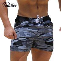 maiôs sexy para boxers venda por atacado-Taddlee Sexy Swimwear Maiôs Homem Plus Size Grande XXL Spandex Praia Long Board Shorts Boxer de Alta Rise Troncos Homens
