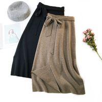 línea de pajarita para mujer al por mayor-Otoño Invierno Mujer Midi Suéter Largo Falda Elástica Cintura Alta Tie Bow Faldas tejidas Mujer Todo Partido Split Falda de una línea AB1271