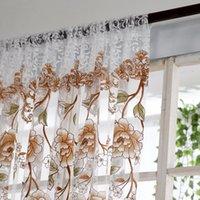 bufandas amarillas al por mayor-Voile Cortina Cortina de la ventana Estampado de flores divisor de tul Voile Panel Drapeado Sheer bufanda Cenefas Cortinas Sala de estar Dormitorio decoración