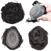 Wholesale wavy silk base wig online - Mens Toupee Hairpiece System Replacement for Men Indian Remy Hair Piece Wig Silk Base Lace Wig Virgin Human Hair